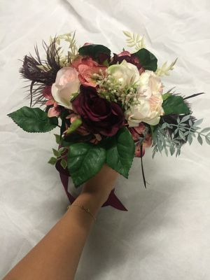 """Gorgeous faux fake flower bridesmaid bouquet ribbon maroon pink ivory 10"""" for Sale in San Francisco, CA"""