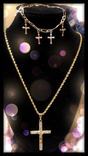 CZ cross necklace set for Sale in Seattle, WA