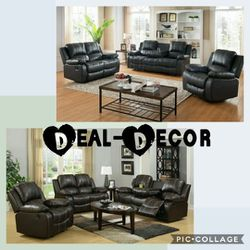 Black or Gray Reclining Leather 3 Piece Sofa Set for Sale in Atlanta,  GA