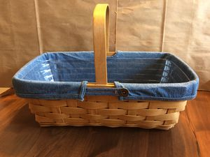 Longaberger carry along basket w/denim liner and protector for Sale in Washington, DC