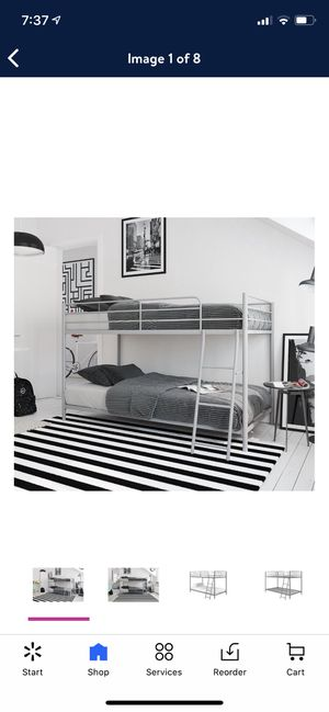 Mainstays Small Space Twin over Twin Bunk Bed, Silver for Sale in Las Vegas, NV