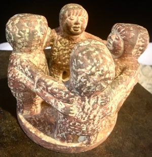 Hand made pottery art Circle of 4 Friends, small candle holder H4xW5 inch for Sale in Chandler, AZ