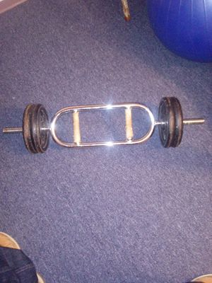 4- 10 pound plates of Weights and tricep Bar for Sale in South Setauket, NY