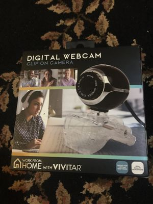 Digital Webcam clip on Camera work from Home with Vivitar High Quality Microphone Black Brand New Never Open Never Use Sealed for Sale in Folsom, CA