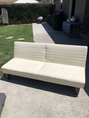 White Faux Leather Futon for Sale in West Covina, CA