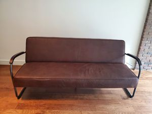 Farmhouse vintage faux leather futon for Sale in Dallas, TX