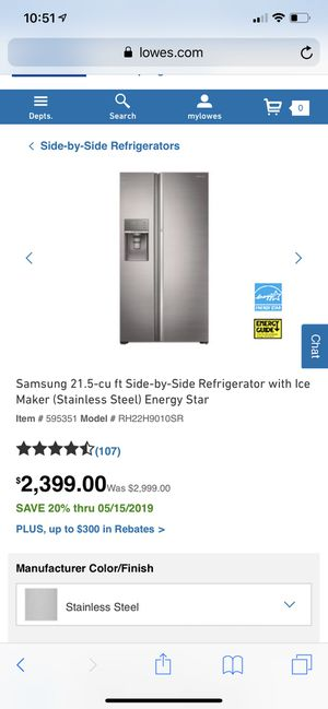 Samsung 21.5-cu ft Side-by-Side Refrigerator with Ice Maker (Stainless Steel) Energy Star Item # 595351 Model # RH22H9010SR for Sale in Tamarac, FL