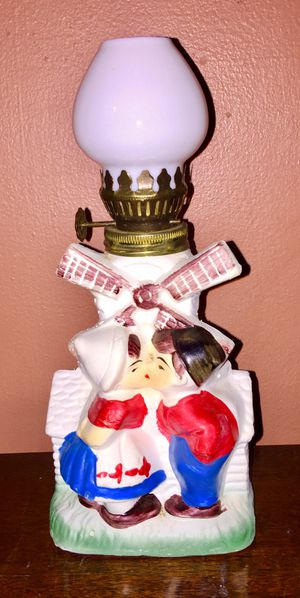 "Antique Ceramic Windmill ""Kissing Boy & Girl"" Oil Lamp for Sale in North Chesterfield, VA"