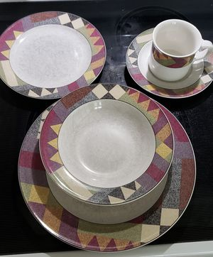 Studio Nova 8 person dinnerware set with canisters and new candle. for Sale in Morrisville, NC