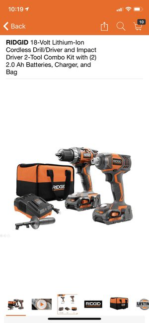 RIDGID 18-Volt Lithium-Ion Cordless Drill/Driver and Impact Driver 2-Tool Combo Kit with (2) 2.0 Ah Batteries, Charger, and Bag for Sale in Philadelphia, PA