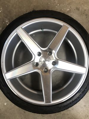 19 inch 19x8.5 KMC KM685 DISTRICT Silver Machined wheel rim 5x114.3 +35 WITH OUT TIRE for Sale in Pasadena, CA