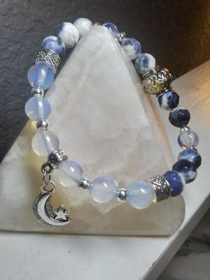 Moonstone and Sodalite Moon and Stars Healing Crystal Bracelet for Sale in Phoenix, AZ