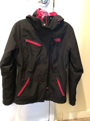 Women's North Face coat jacket. Waterproof with hood. Size XS. Black and fuchsia pink. Only worn 2x. Separate liner zips out. for Sale in Washington, DC