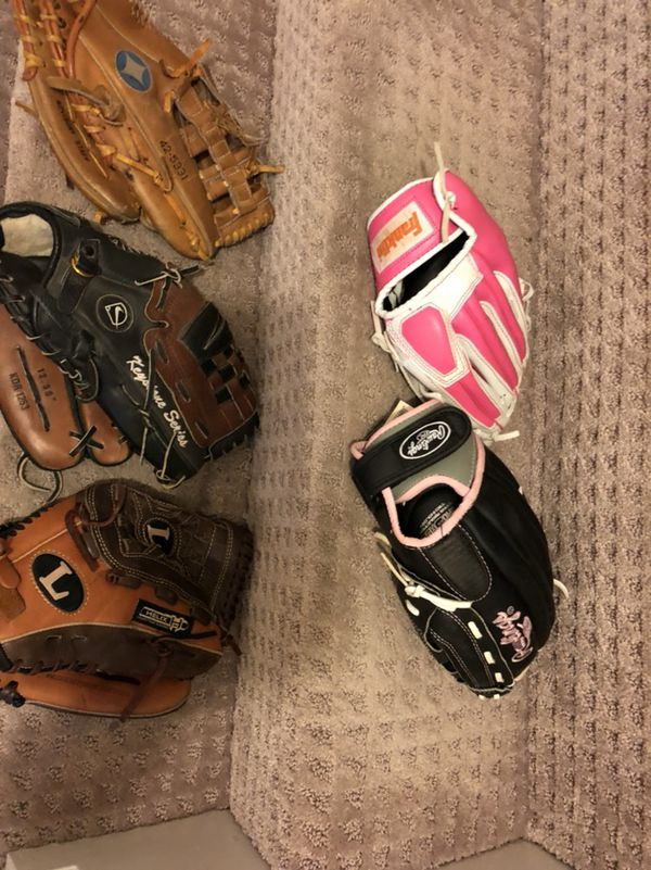 Softball baseball t ball gloves helmets bats bags