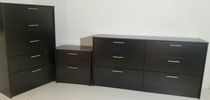 Brand New Black Dresser. Tall Chest and 1 nightstand for Sale in Altamonte Springs, FL
