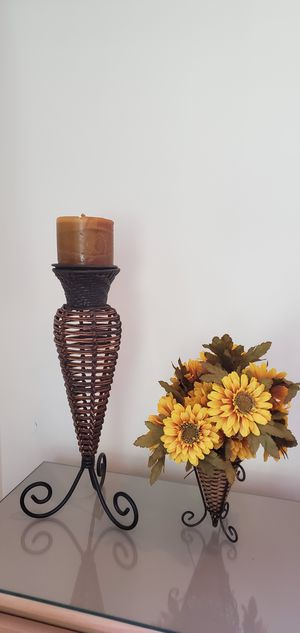 Candelabra, candle holder, flower vase, wicker. Moving sale, check out my other listings. for Sale in Homer Glen, IL