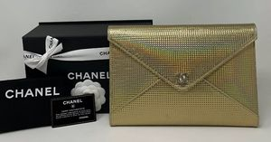 CHANEL Metallic Envelope Clutch Bag Gold CC ❤️ for Sale in Corona, CA
