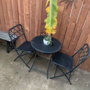 Whicker Patio Table, Bistro Patio Table, Table & 2 Chairs for Sale in Long Beach, CA