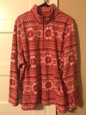 ***LANDS'END WOMEN'S PLUS SIZE RED FLEECE PULLOVER SNOWFLAKE PRINT SIZE 2X*** for Sale in Portland, OR