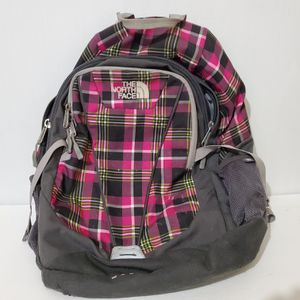 North Face Wasatch backpack hiking school laptop Black Pink plaid 13 x 17 for Sale in Brookfield, IL