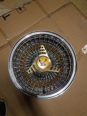 13x7 Roadster 13 inch 72 spoke wire rim no knockoff or adapter one rim only gold nipples cash or trade Dayton zenith for Sale in Dinuba, CA