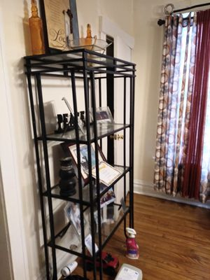 Two Iron and glass stands and matching bar with stools for Sale in Chicago, IL