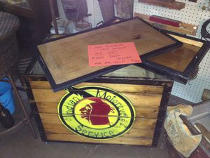 """Indian motorcycle services crate. Has a pull out shelf and lid. Also on wheels. Great for storage. Dimensions are 32"""" long. 20"""" front to back. 26"""" ta for Sale in Sorrento, FL"""