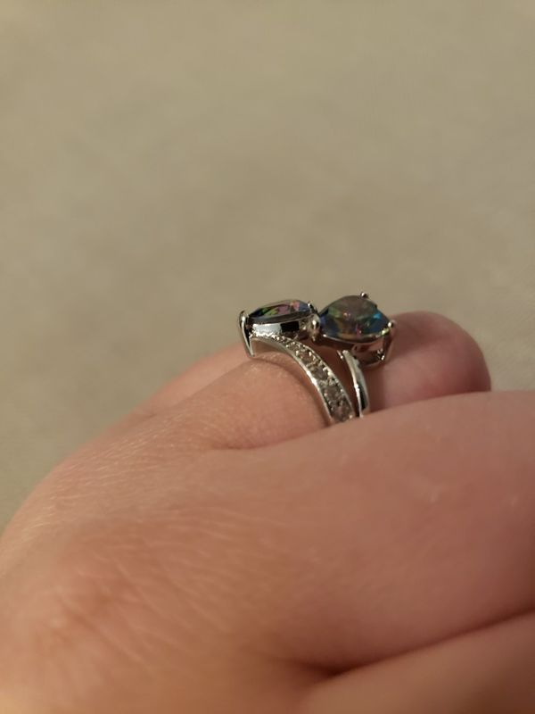 Multicolored Double Hearted Sterling Silver 925 Ring