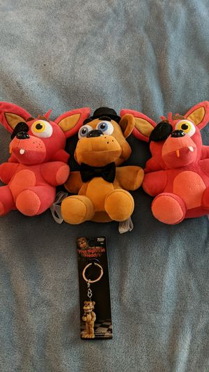Foxy and Freddy plushies with Freddy keychain for Sale in Olmsted Falls, OH