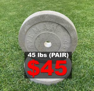 45 lb olympic plate (pair) for Sale in Whittier, CA
