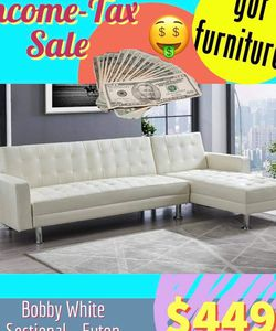 White Faux Leather Sectional - Futon $449 Cash Or Get On Finance with $42 Down! for Sale in Houston,  TX