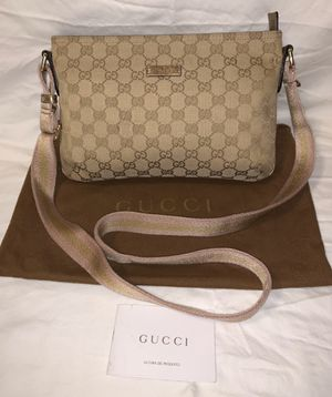Authentic Gucci signature monogram crossbody and shoulder bag in pink, tan, and gold for Sale in San Diego, CA