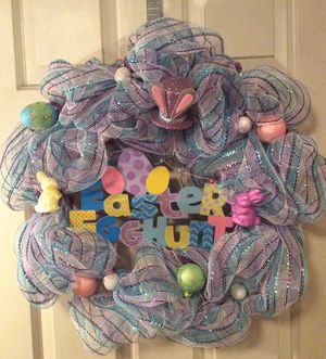 Easter Deco Mesh Wreath for Sale in Inwood, WV