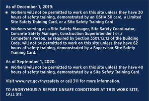 NYC DOB Site safety training English sign for Sale in The Bronx, NY