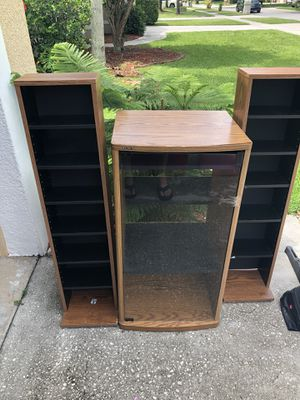 Stereo organizer with two stand for cd for Sale in Orlando, FL