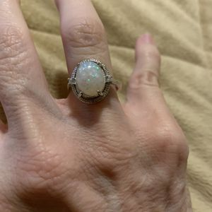 New CZ opal sterling silver 925 wedding ring size 7 for Sale in Inverness, IL