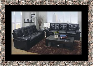 U6900 Black bonded leather sofa and loveseat for Sale in Rockville, MD