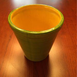 "MCM Ceramic 5"" Flower Pot - Green Glaze Exterior; Squash Yellow Interior for Sale in Tempe, AZ"