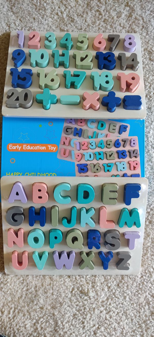 Wooden Peg Puzzles for Toddlers Alphabet & Number Puzzles for Kids,- Letters, Numbers, Learning Toys Gift for Girls and Boys (2Pack)