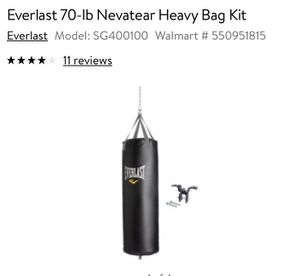 EVERLAST PUNCHING BAG 70lb for Sale in Irving, TX