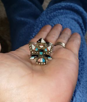 Vintage silver and multi colored turquoise native American ring for Sale in Lakewood, WA