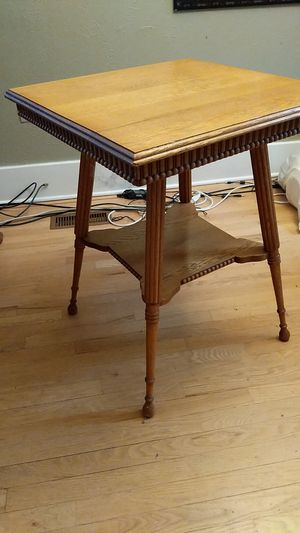 Antique oak two-tier parlor lamp table. Carved wood for Sale in Denver, CO