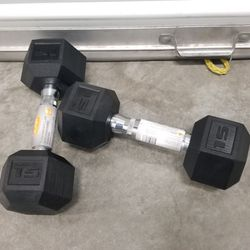 2 New 15lb Rubber Hex Dumbbells for Sale in San Jose,  CA