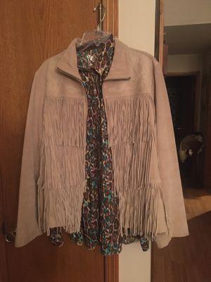 Tan suede leather Avanti fringe jacket and Rock 47 women's shirts for Sale in Wichita, KS