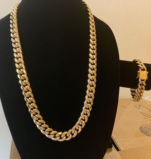 14mm set chain 26 inches real gold bonded in stainless steel for Sale in Pembroke Pines, FL