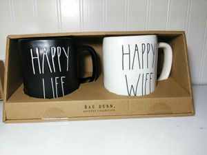 Rae Dunn HAPPY WIFE HAPPY LIFE LL Mugs Boxed Set Wedding Couples Valentines NEW for Sale in Florissant, MO