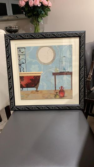 Framed painting 17x17 perfect for guest bathroom for Sale in Miami, FL