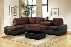 3-PC Brown Microfiber Sectional with Storage Ottoman for Sale in West Palm Beach, FL