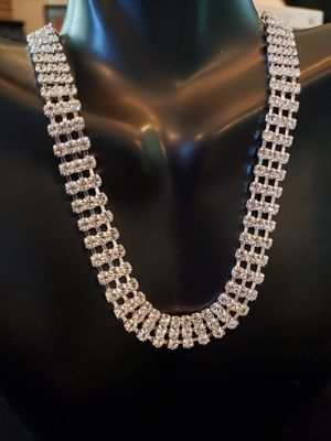 $25! Vintage rhinestone necklace with 3 rows. Necklace is 16 inch choker. 3/8 inch wide. for Sale in Seminole, FL