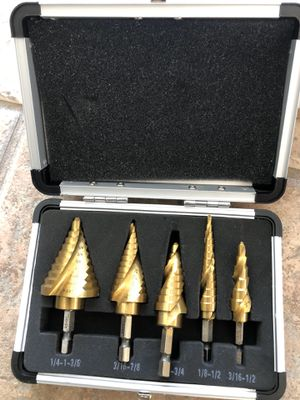 HSS Titanium Spiral grooved Step Drill Bit Set for Sale in Palmdale, CA